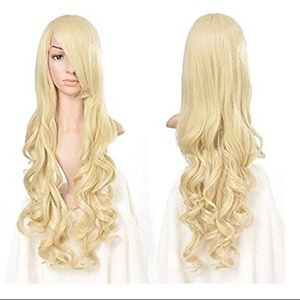 Heat Resistant Curly Long Cosplay Wig - Light Gold